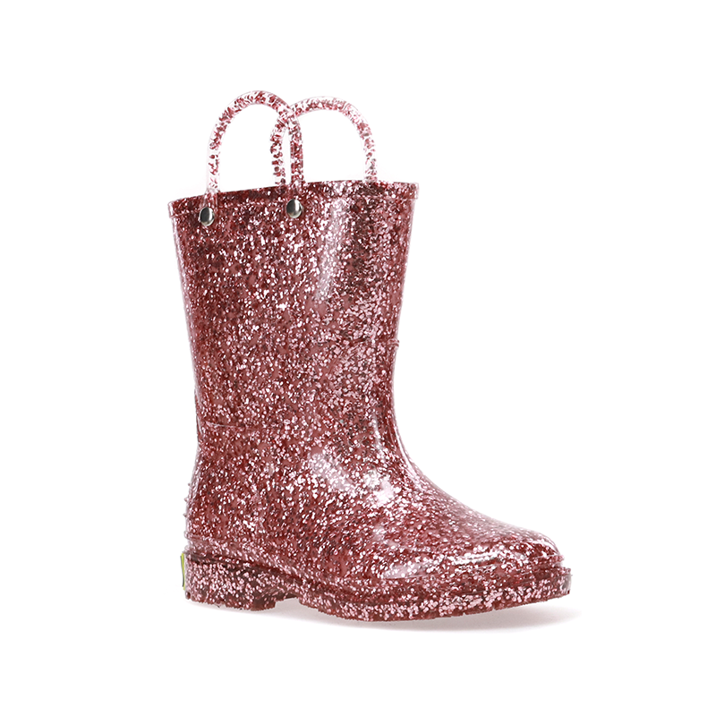 Rose gold glitter rain boot